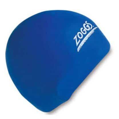 zoggs waterproof silicone swim cap blue