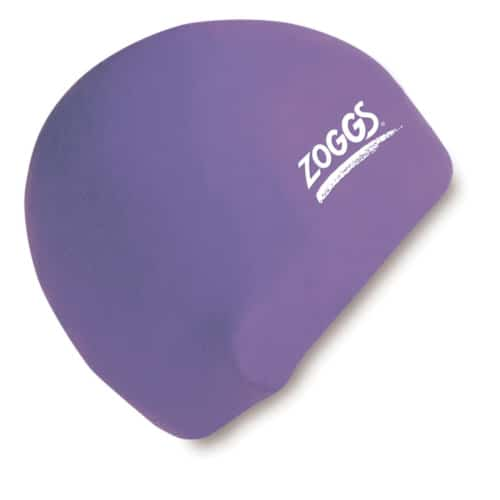 zoggs waterproof silicone swim cap purple
