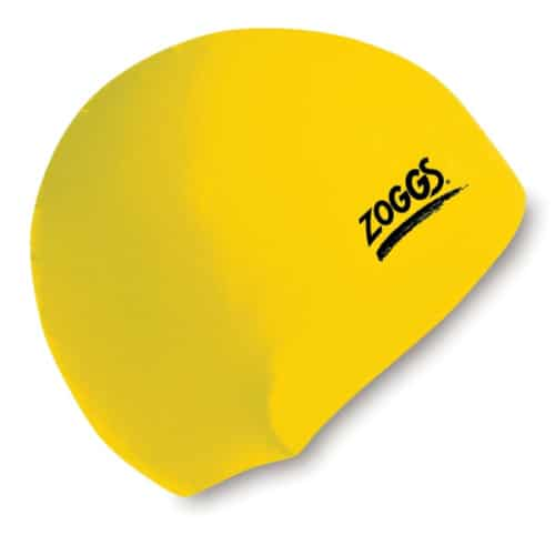zoggs waterproof silicone swim cap yellow