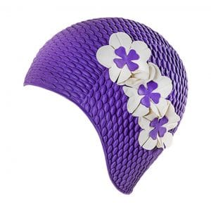 fashy retro flower rubber swim cap